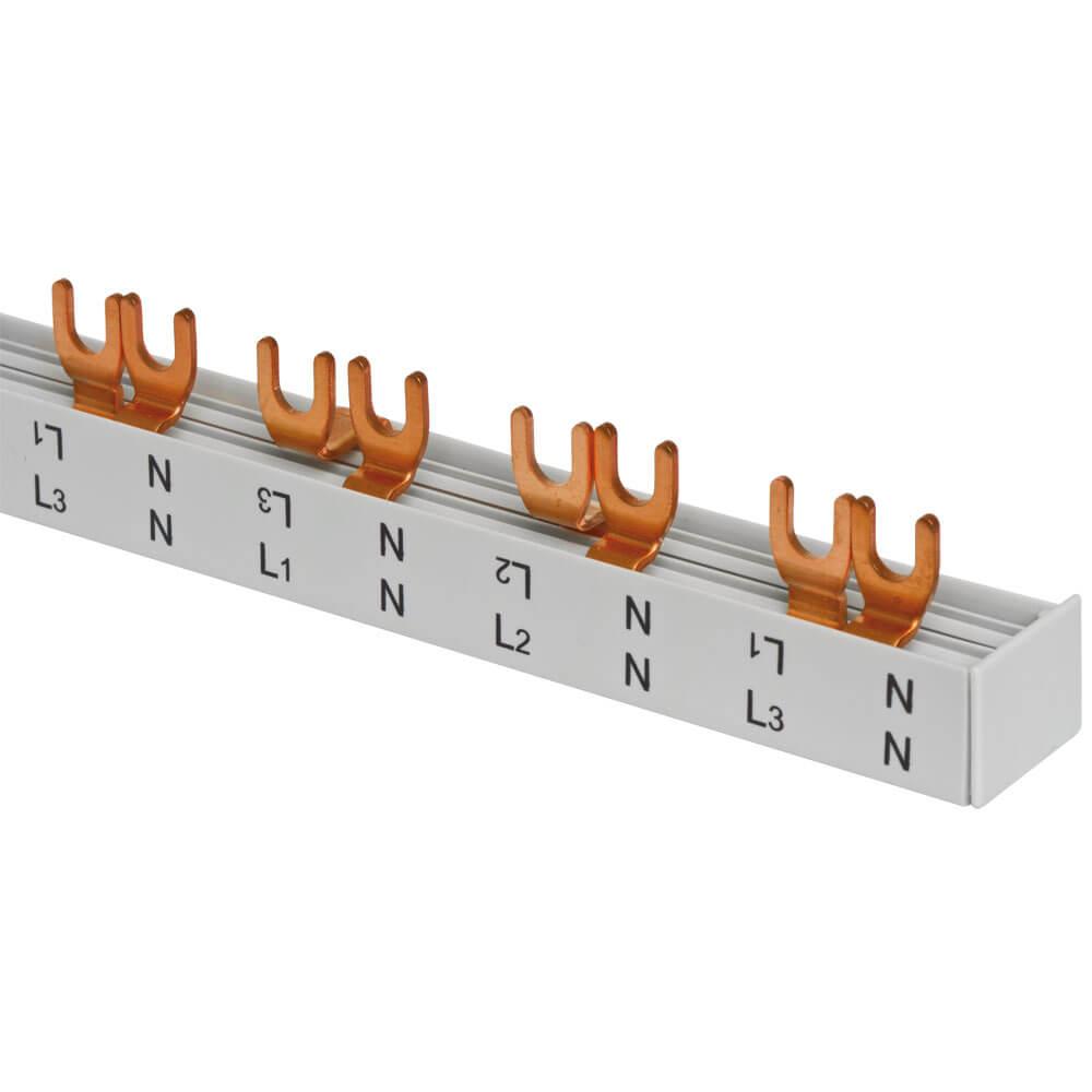 Gabel-Phasenschiene, 16 mm², 4-polig, L-Form, für 6 2-pol. Schalter+ ...