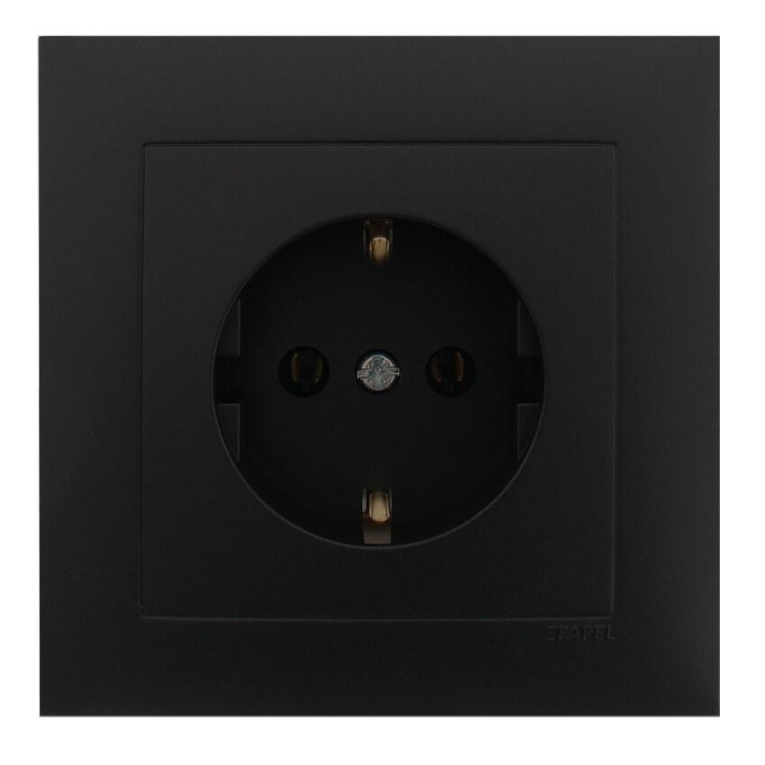 komplett steckdose up logus 90 schwarz matt logus 90 schwarz matt efapel schalterprogramme. Black Bedroom Furniture Sets. Home Design Ideas