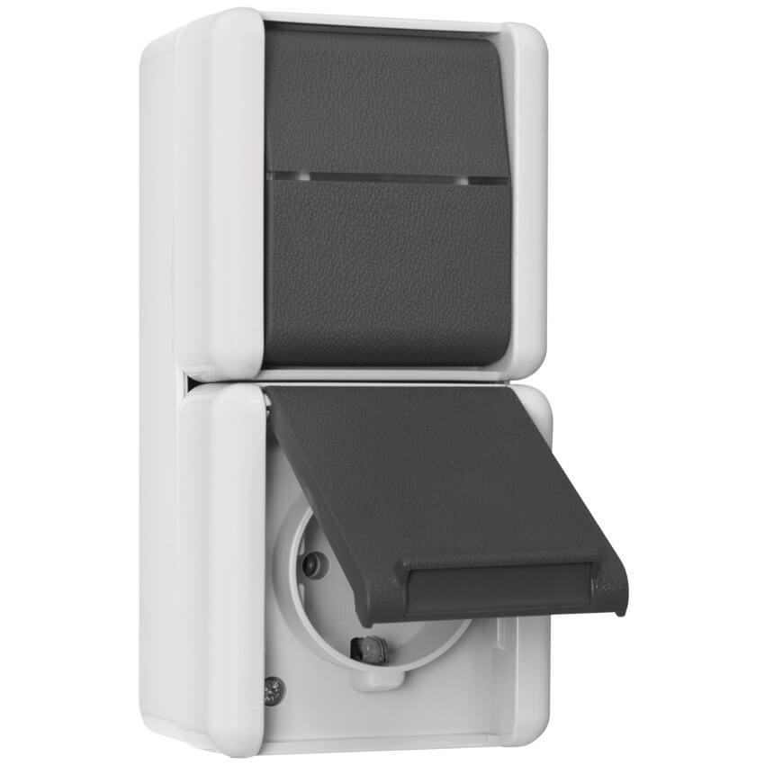 kombination schalter steckdose ap fr jung wg 800. Black Bedroom Furniture Sets. Home Design Ideas