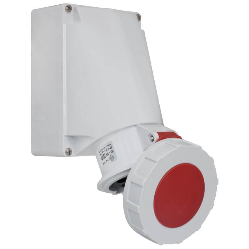 CEE-Wandsteckdose für Durchgangsverdrahtung 5-polig, 400V, IP44 ...