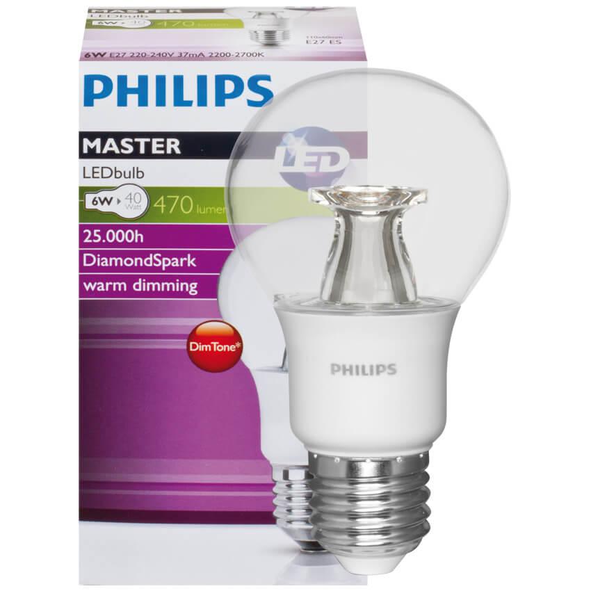 LED-Lampe, MASTER LEDBULB, DimTone, AGL-Form, klar, E27/230V ...