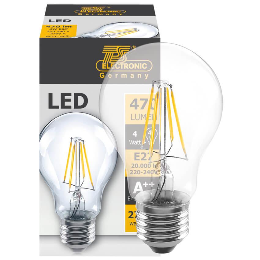 Filament led lampe agl form klar e27 230v led - Lampe led e27 ...