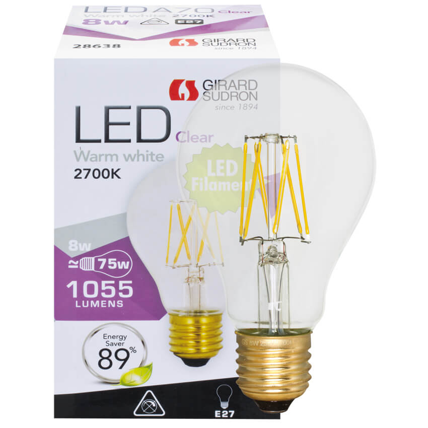 filament led lampe agl form klar e27 240v led. Black Bedroom Furniture Sets. Home Design Ideas