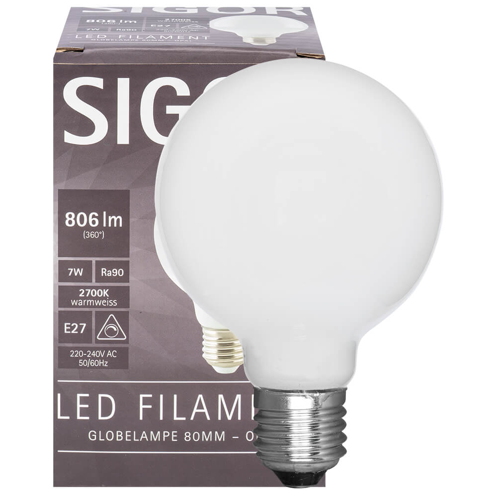 LED-Filament-Lampe, Globe-Form, opal,  E27, 2700K