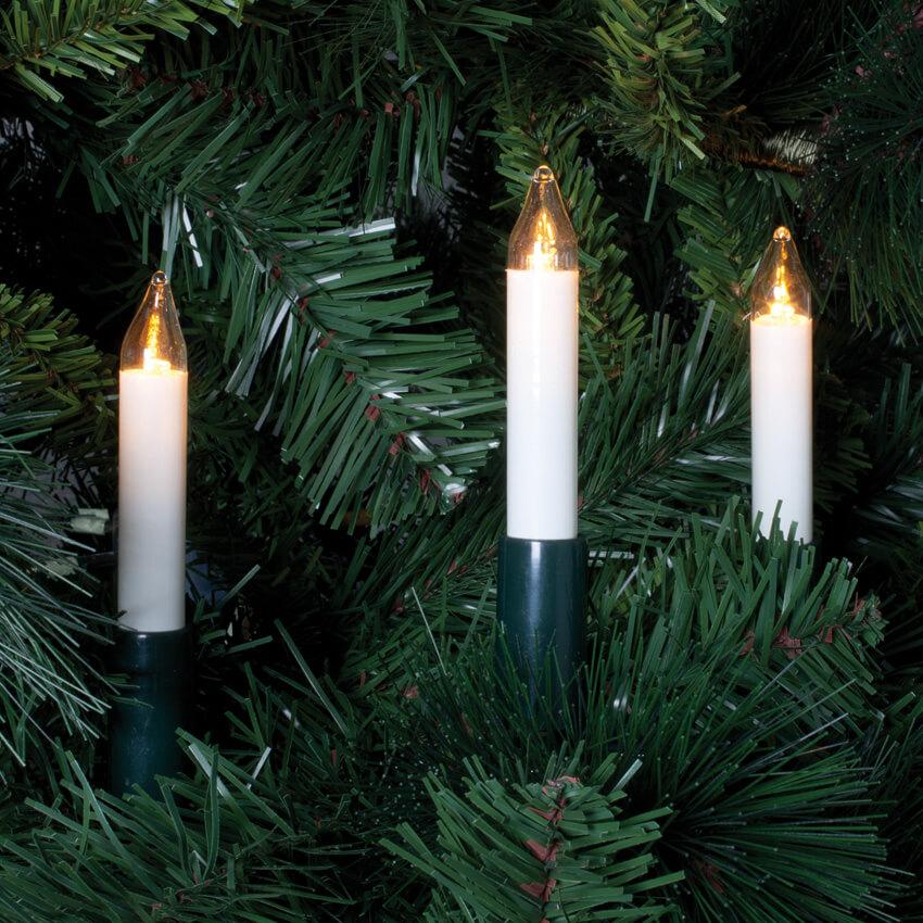 led weihnachtsbaumketten klar elfenbein warmwei e leds mit schaftkerzen led. Black Bedroom Furniture Sets. Home Design Ideas
