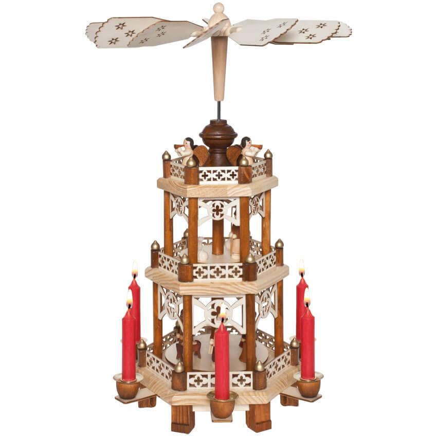 weihnachtspyramide 3 st ckig f r 6 weihnachtskerzen weihnachtsleuchter innen. Black Bedroom Furniture Sets. Home Design Ideas