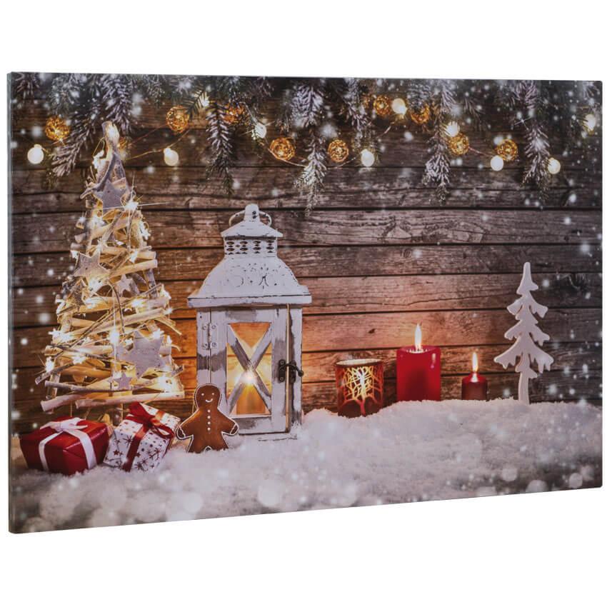 Led Bilder Weihnachten.Led Bild Canvas 3 Flammig Orange Flackernde Leds