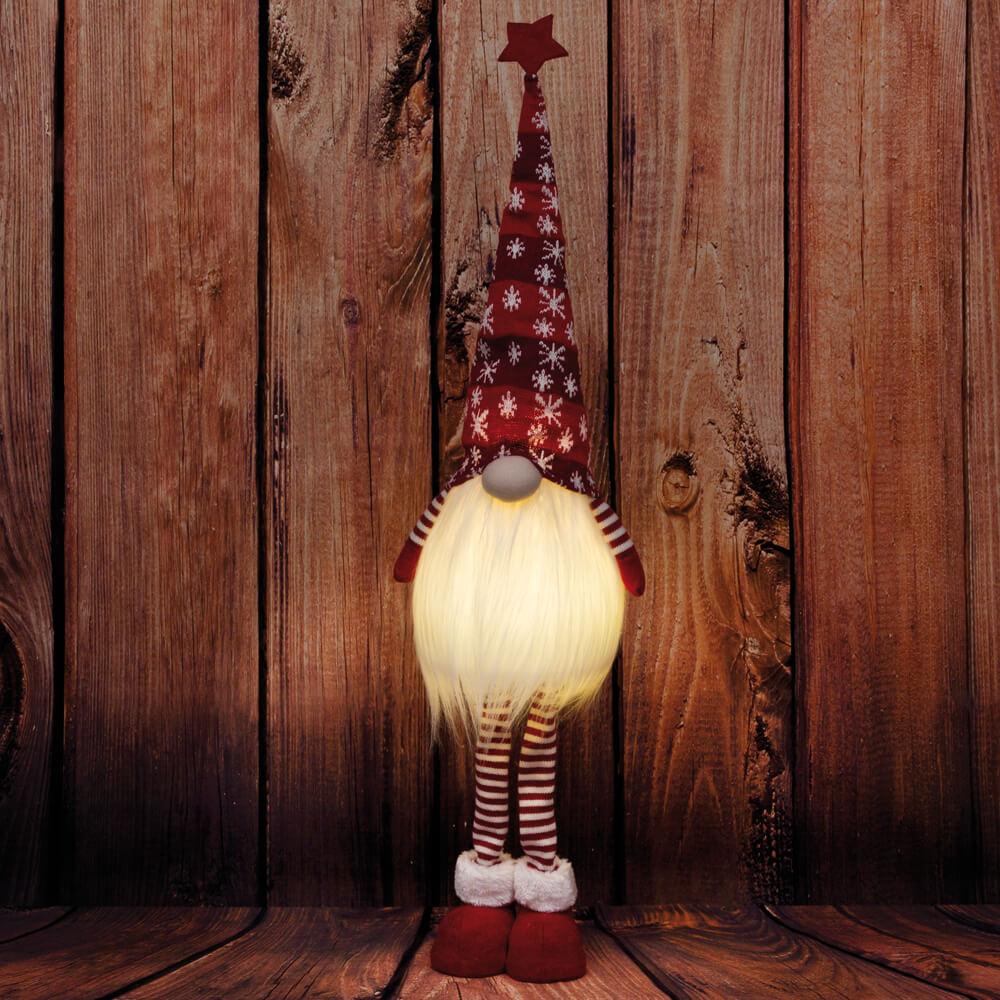 Winterzwerg mit LED-Licht; grau; ca 16 cm