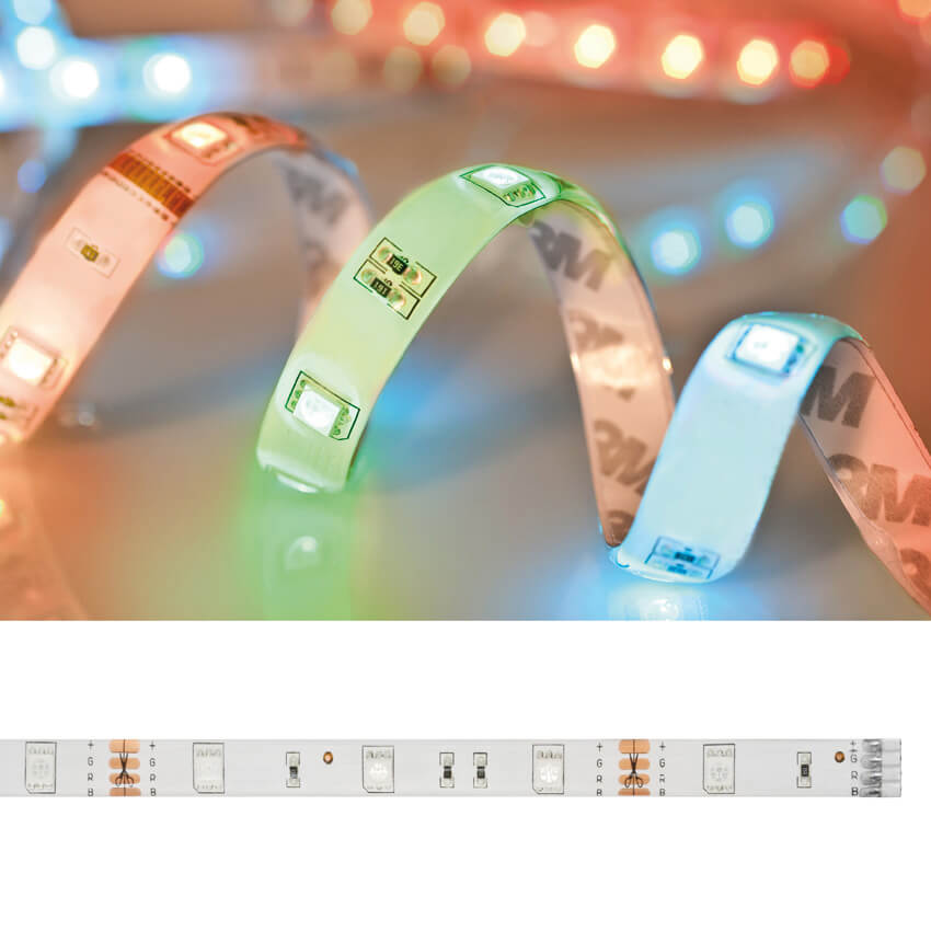 RGB-LED-Flexstreifen-Set, L 5 m, 150 RGB-LEDs, 60 lm/m, 24W