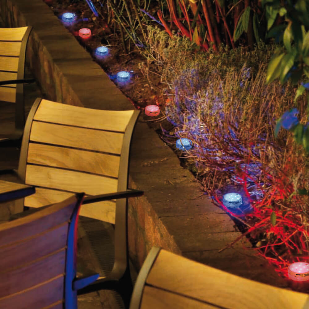 led rgb leuchte 10 rgb leds mit fernbedienung batteriebetrieben gartendekorationen. Black Bedroom Furniture Sets. Home Design Ideas