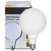 Filament-LED-Lampe,  Globe-Form, opal,  E27/230V