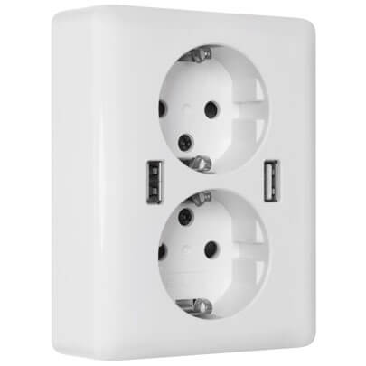 UP-Doppelsteckdose, 2USB EasyChargeDUO, 2 x USB-Ausgang 5V/max. 2,4A