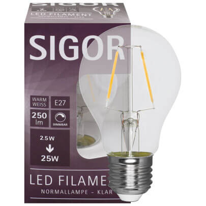 Filament-LED-Lampe,  AGL-Form, klar,  E27/230V