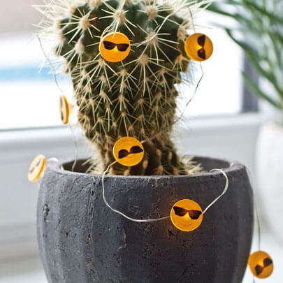 LED-Draht-Minilichterkette, HAPPY, Sonnenbrillen-Emoji